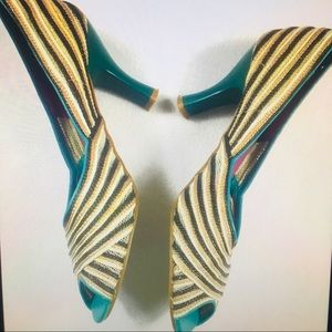 BOGO Anthropologie Faryl Robin striped woven heels